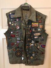 Vintage 70's Genuine British Motorbike Biker Denim Cut Jacket over 90 Pin Badges