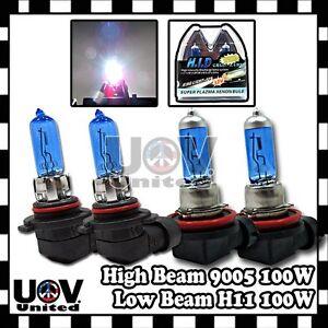 HB3 9005 9140 9145 H11 100W Halogen Gas Xenon Hi High Lo Low Beam Combo 5000K U1