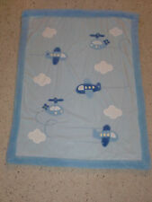 JUST ONE YEAR BLUE GREEN AIRPLANE AIR PLANE HELICOPTER BABY BOY BLANKET