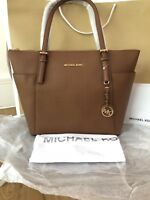 Michael Kors Jet Set Saffiano Leather Tan Large Tote Bag Sold Out Genuine BNWT