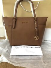Michael Kors Saffiano Leather Jet Set Tan Large Tote Bag Hand Bag RP 270 Soldout