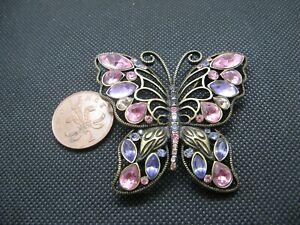 Nice Large Multi-Coloured Rhinestone Butterfly Brooch.