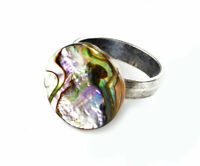 Abalone Shell Adjustable Statement Ring