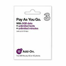 Prepaid Europe (Uk Three) Sim Card 5Gb Data+3000 Minutes+3000 Texts For 30 Days