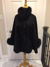 Black Wool Cashmere Wool cape Fox fur Collar & Cuff BELT