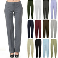 New Ladies Womens Office Work Trousers Half Elasticated Stretch Waist Pants