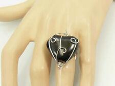 Bague réglable en porcelaine encapsulée métal, coeur noir, Bijoux fantaisie neuf