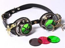 Gothic Steampunk schwarz Brille Messing Brass Leder goggles RQ-BL rot grün goth