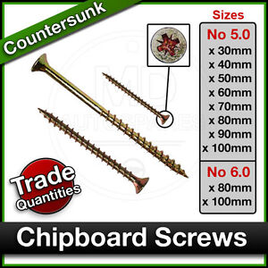 WOOD CHIPBOARD SCREWS Posi Countersunk Waxed Screw SINGLE THREAD Bulk 5.0 / 6.0