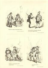 1840 VICTORIAN PRINT ~ SCENES IN LONDON Nos. 17 to 20 ~ HENRY HEATH CARICATURE