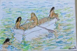 Pierre DEVAL Dessin couleur crayons Joli dessin signé 18 x 12 cm