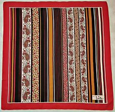 "SCARF VINTAGE AUTHENTIC VETTER FLORAL STRIPED ART RED BLACK SILK 31"" SQUARE"