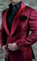 British Style Men's Purple Jacquard Paisley Blazer Tuxedos Groom Wedding Suits