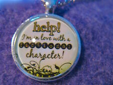 """NEW Jelly Belly Dome PENDANT: 'HELP! IN LOVE w/A FICTIONAL CHARACTER!' 20"""" chain"""