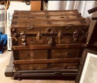 TIMES UP SALE -BEAUTIFUL ALL ORIGINAL1800s ANTIQUE  STEAMER TRUNK FLATTOP W/TRAY