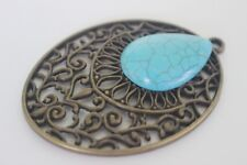 Metal Antique Bronze Ornate Howlite Gemstone Pendant 64mm x 46mm