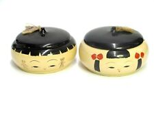 LOT OF 2 ORIENTAL ASIAN JAPANESE CHINESE FACE W/HAT COVERED WOOD TRINKET BOX OLD