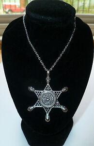 Halloween  Silver Zombie Sheriff Walking Dead Badge Skull Crystal Necklace
