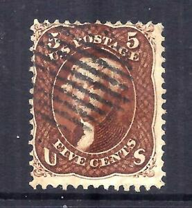 US Stamps - #75 - USED - 5 cent Jefferson red bwn Issue - CV $425