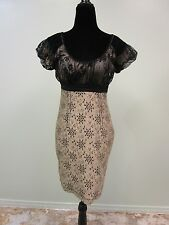 Studio M Dress Mini Lace Flower Eyelet Lined  Cocktail Capped Sleeves Wn's Sz 4