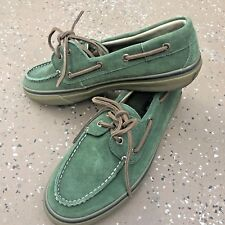 SPERRY Top-Slider Green Suede Lace Brown Boat Deck Olive Loafers Shoes Mens 9