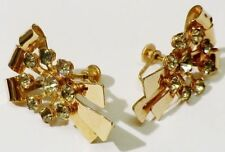 boucles d'oreilles à vis fleur cristaux diamant bijou vintage couleur or * 4027