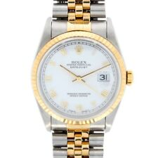 Gents Rolex Oyster Perpetual Datejust 18ct Yellow Gold & Steel White Dial 16233