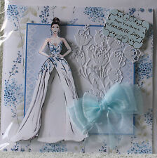 HANDMADE BEAUTIFUL 3D PRETTY BRIDE WITH FINE GLITTER ACCENTS EX LG WEDDING CARD