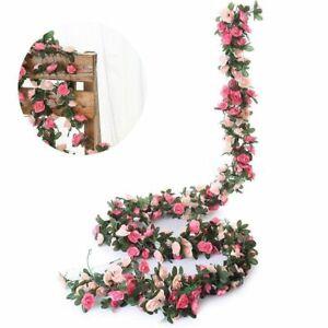 8ft Artificial Silk Rose Hanging Garland Flower String Wedding Home Garden Decor