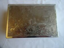 More details for antique french silver plated box figures, sheep & palace, marseille june 1912