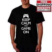 KEEP CALM AND GAME ON T-SHIRT xbox shirt ps3 tshirt ps4 xboxone wii nintendo n64