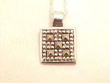 Vintage Jewellery- Sterling Silver & Marcasite Pendant & Chain - Deceased Estate