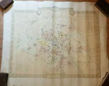 93x117 Ancien 1887 Grand Plan Ville Paris Période Révolutionnaire Poubelle Carte