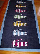 "Lacoste Bayadere Swim Beach Towel Cotton New/Tag Iris 36"" x 72"" Authentic"