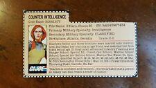 1982 GiJoe SEARS / JCPENNEY Red Back SCARLETT ( Cut Filecard ) HTF