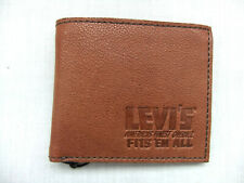 NEW LEVIS  TAN LEATHER BIFOLD CARD WALLET IN PRESENTATION BOX