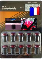 Kit Keiti® 10 boulons M5*15 alu rouges anodisés universel pour bulle pare-brise
