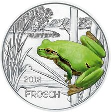 Österreich 3 Euro 2018 Frosch Tiertaler Gedenkmünze handgehoben in Münzkapsel