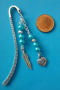 HAIRDRESSER SCISSORS THANK YOU Tibetan Silver Bookmark BLUE BEADS HAIRDRYER