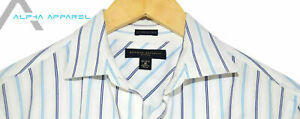 BANANA REPUBLIC -Men (Medium) Fitted Blue/ White/ Purple Stripes Dress