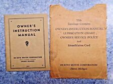 De Soto Owner's Instruction Manual 1929-34 W/Storage Envelope * DeSoto Chrysler