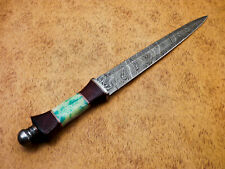 Rody Stan HAND MADE DAMASCUS MINI SWORD DAGGER - STAINED CAMEL BONE - MP-4002