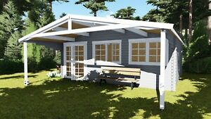 Gartenhaus aus Holz Vordach 2.1M, Blockhaus 6x4M + 2.1M 40mm, Madrid EB40011oFL