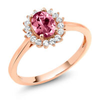 10K Rose Gold Ring Created Sapphire Set with Oval Pink Topaz from Swarovski