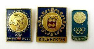 1964 Innsbruck Winter Olympic Games Set of 3 Pins Badges Rare