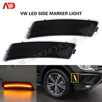 For VW Tiguan 2018- Beetle 12-19 LED Front Bumper Side Marker Light Smoked Amber