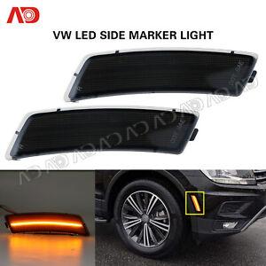 For VW Tiguan 2018- Beetle 12-19 LED Front Bumper Side Marker Light Smoked Amber