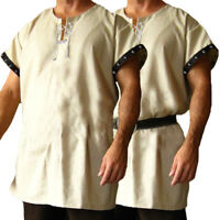 Vintage Men's Medieval Tunic Top Shirt Viking Knight Cosplay Costume Party Dress