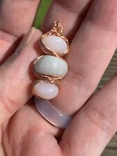 *Reserved* Beautiful Pink Peruvian Opal And Moonstone Beads Wire Wrapped Pendant