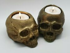 BRONZE Realistic Skull Tealight Goth Halloween Candle Tea Light Holder Gift